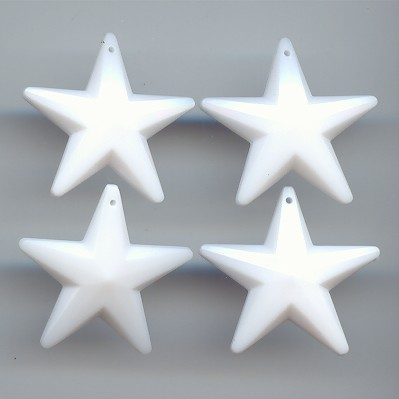 WHITE 28MM MULTI FACETED STAR PENDANTS - Lot of 12