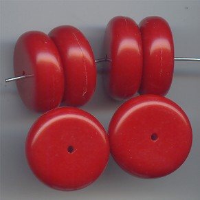 RED 8X20MM ROUND SPACER BEADS - Lot of 12