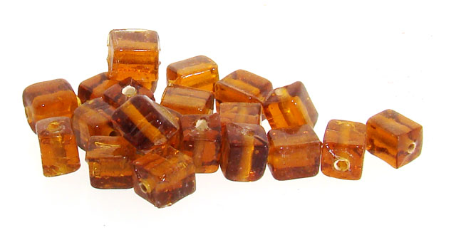 1/2 POUND - 625 GLASS TOPAZ SMOOTH 8x6mm. RECTANGLE BEADS