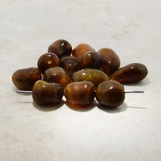 BROWN MARBLE 13X9MM NUGGET BEADS - Lot of 12