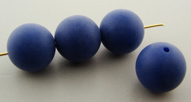 DARK BLUE MATTE 16MM ROUND SMOOTH BEADS - Lot of 12