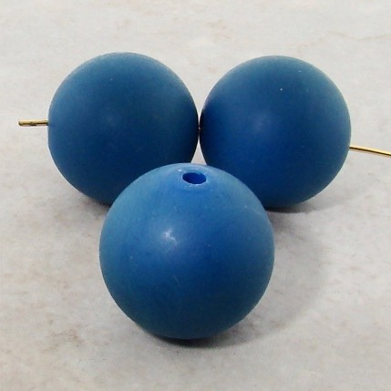 BLUE 22MM ROUND SMOOTH BEADS - Lot of 12