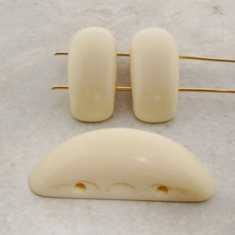 IVORY 39X13MM 2 HOLE SMOOTH CRESCENT BEADS - Lot of 12