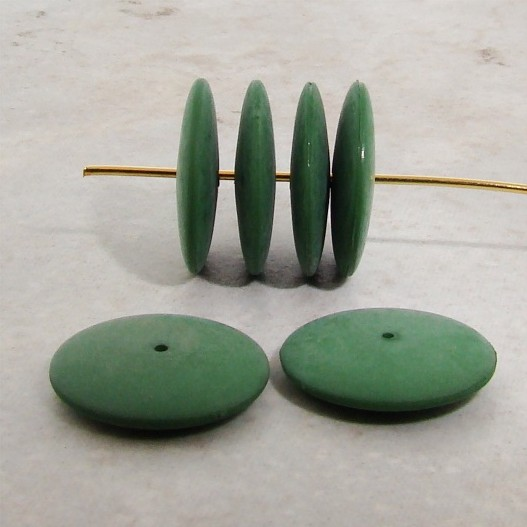 FORREST GREEN 16MM SMOOTH SPACER DISC BEADS - Lot of 12