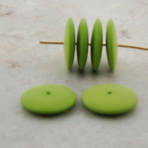 MINT GREEN 16MM SMOOTH SPACER DISC BEADS - Lot of 12