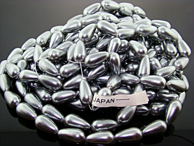 GREY 18X10MM TEAR DROP SMOOTH JAPANESE PEARLS - Lot of 42