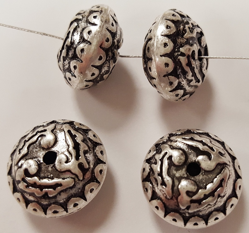 ANTIQUE SILVER 10x17mm. VICTORIAN CARVED SAUCER BEAD - Lot of 12
