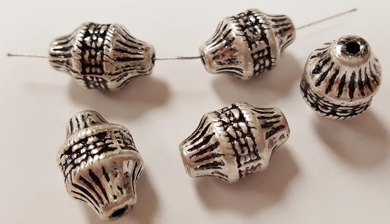 ANTIQUE SILVER - 15x10mm GROOVED TRIBAL BICONE BEADS - Lot of 12
