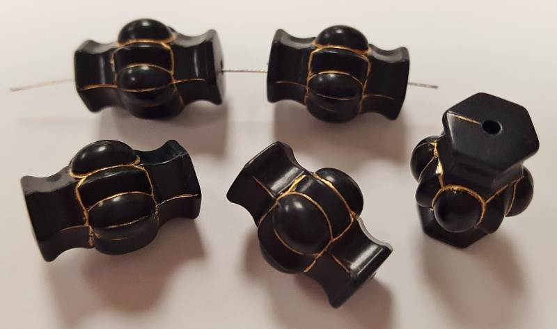 BLACK 17x12mm GOLD GROOVED MELON BARREL BICONE BEADS - Lot of 12