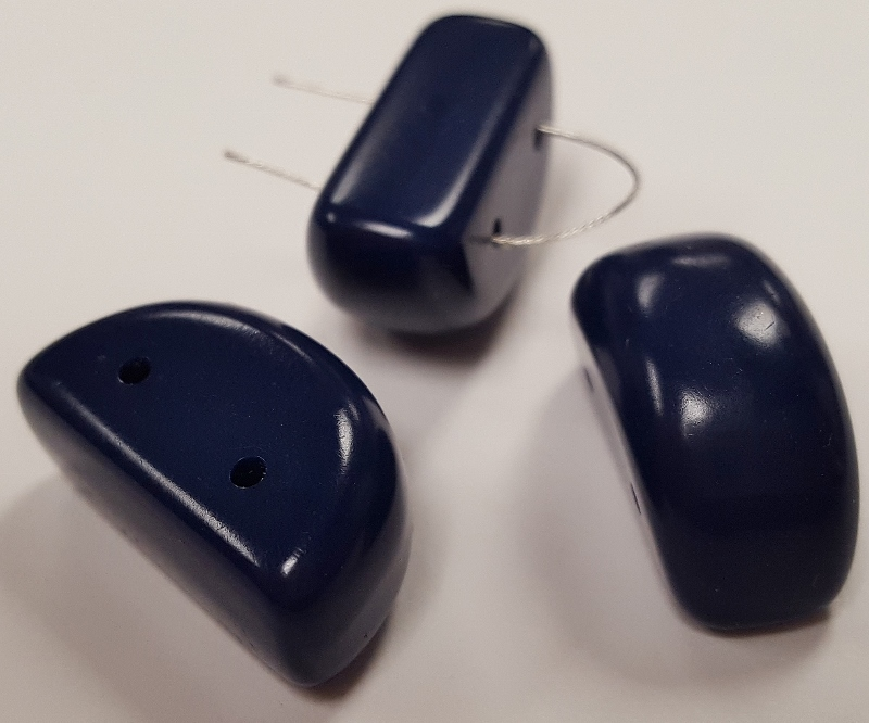 NAVY BLUE 24x12mm. SMOOTH 2 HOLE CRESCENT BEADS - Lots of 12