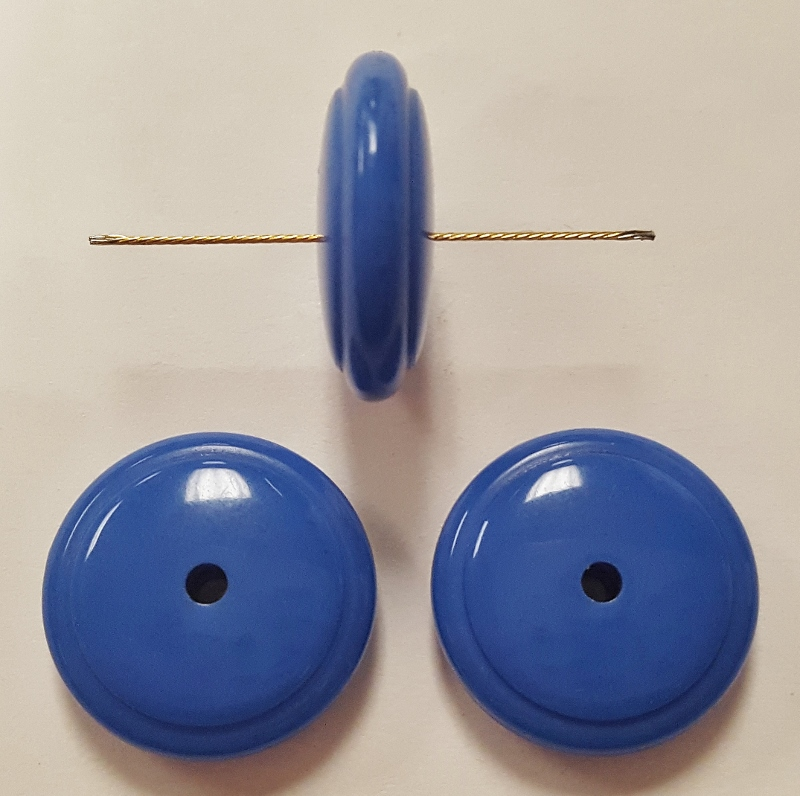 BLUE 5x16mm. GROOVED DISC SPACER BEADS - Lots of 12