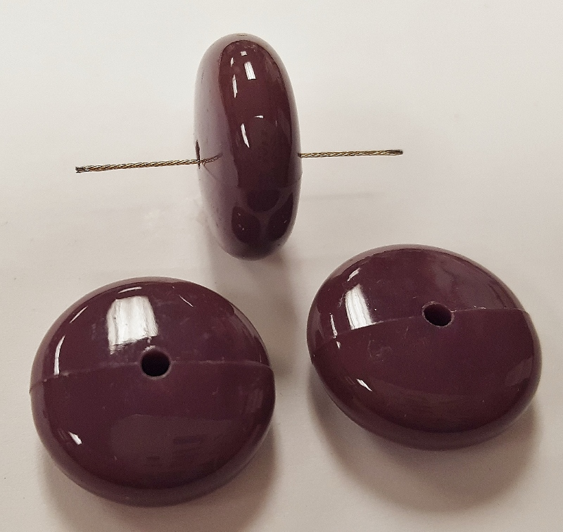 PLUM 8x18mm. SMOOTH ROUND SAUCER SPACER BEADS - Lots of 12