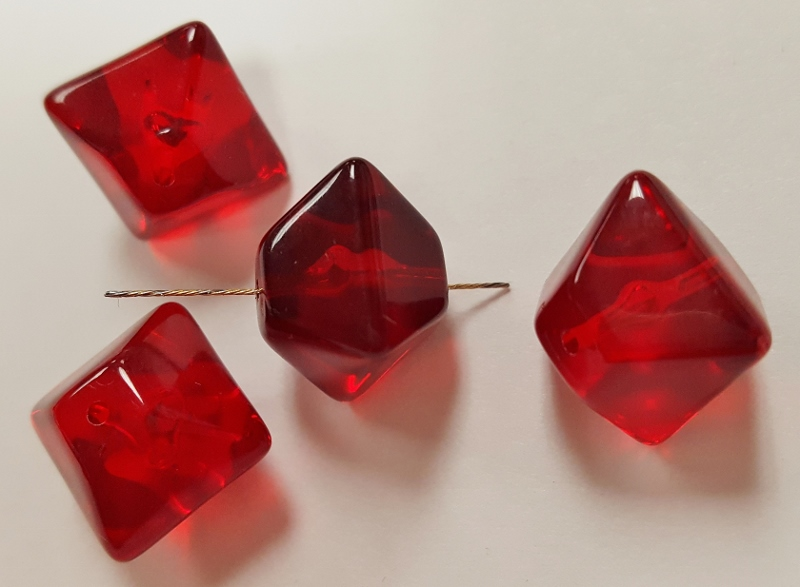 RUBY 12x13mm. SQUARE BICONE SOFT FACETED BEADS - Lots of 12