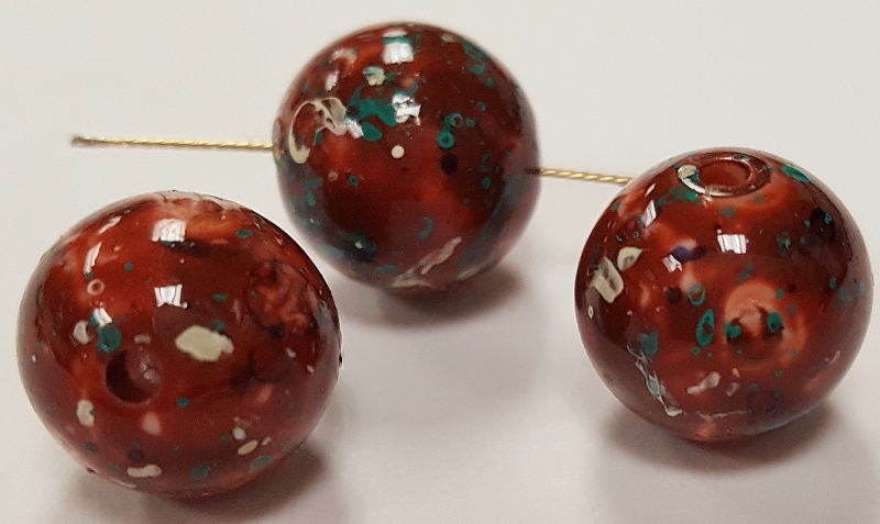 BROWN GREEN SPECKLED 12mm. SMOOTH ROUND BEADS - Lots of 12