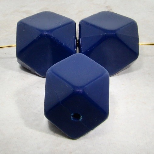 NAVY BLUE 20X17MM MULTI FACETED BEADS - Lot of 12