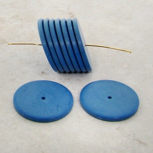 MATTE BLUE 22X2MM DISC SPACER BEADS - Lot of 12