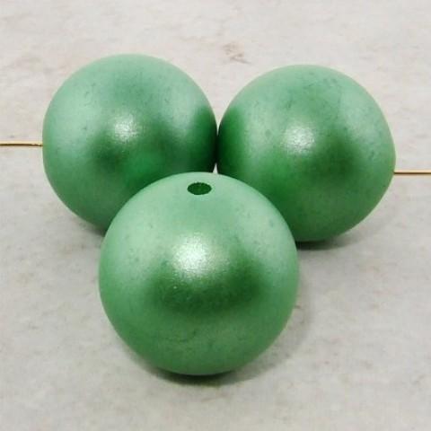 GREEN METALLIC 20MM ROUND BEADS - Lot of 12