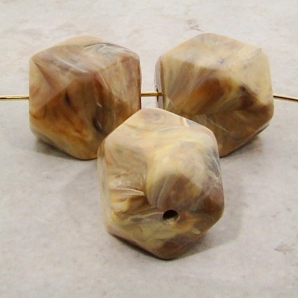 BEIGE MARBLE 20X17MM MULTI FACETED BEADS - Lot of 12