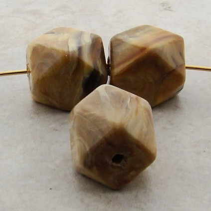 BEIGE MARBLE 16X14MM MULTI FACETED BEADS - Lot of 12