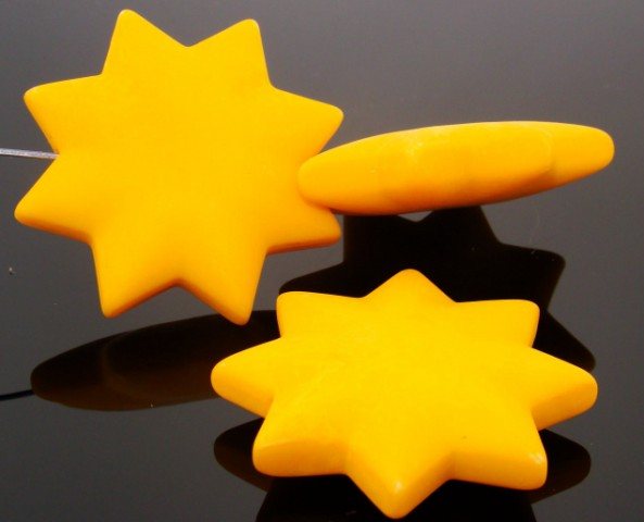 YELLOW MATTE 42MM STAR 10MM THICK BEADS - Lot of 12