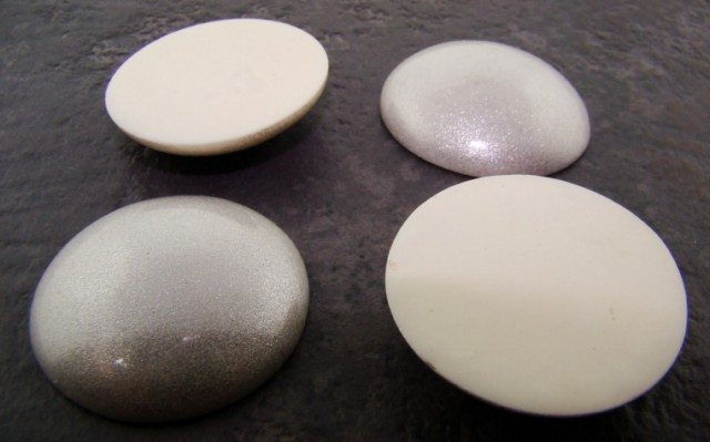 34mm. SILVER GLITTER ROUND CABOCHONS - Lot of 36