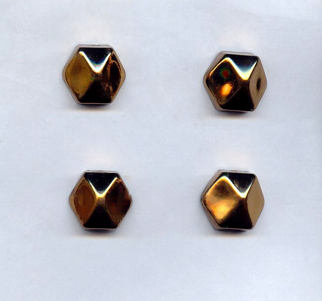 Bronze - 21mm. Hexagon Domed Cabochons - Lots of 12