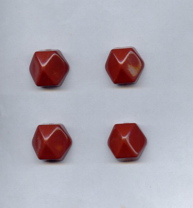 Rust - 21mm. Hexagon Domed Cabochons - Lots of 12
