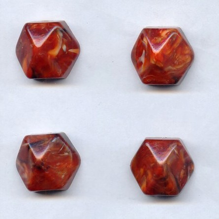 Rust Marble - 21mm. Hexagon Domed Cabochons - Lots of 12