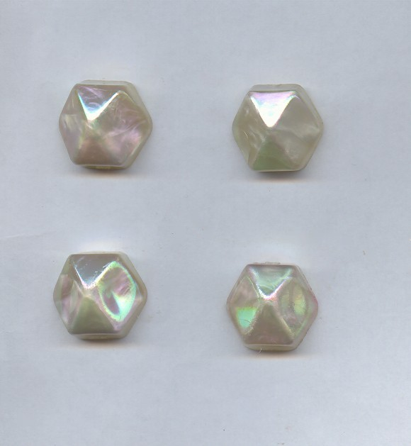 White AB - 21mm. Hexagon Domed Cabochons - Lots of 12