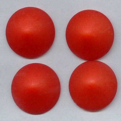 30mm. RED MATTE ROUND POINTED CABOCHONS - Lot of 36