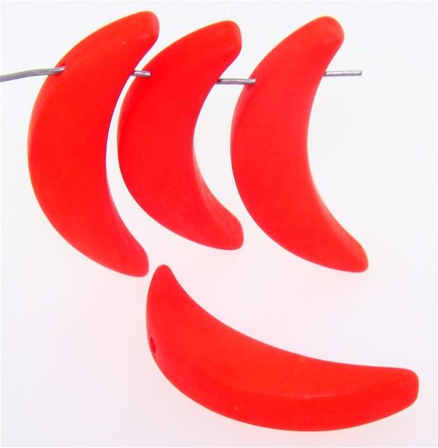 RED ORANGE MATTE 40MM LONG 10MM WIDE MOON PENDANTS - lot of 12
