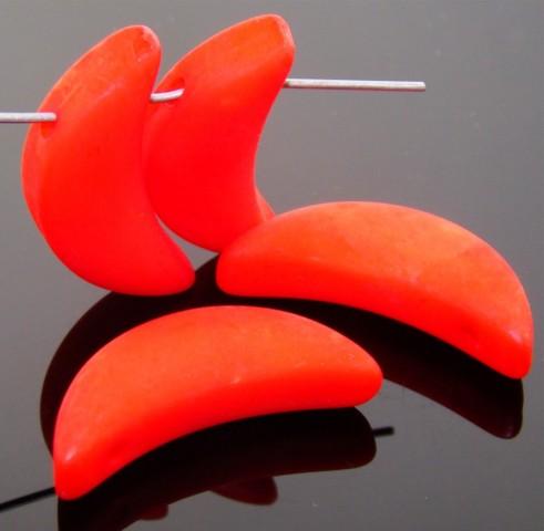 RED ORANGE MATTE 29MM LONG 10MM WIDE MOON PENDANTS - lot of 12