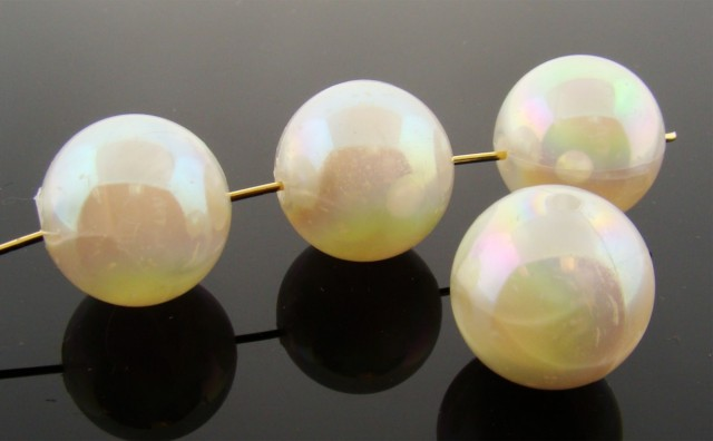 WHITE MARBLE AB 18MM SMOOTH ROUND BEADS - Lot of 12