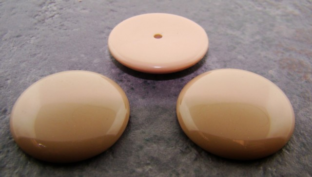 26mm. TAUPE SMOOTH ROUND CABOCHONS - Lot of 36