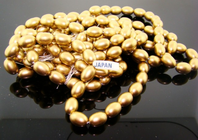 GOLD 14X10MM OVAL SMOOTH JAPANESE PEARLS - Lot of 55