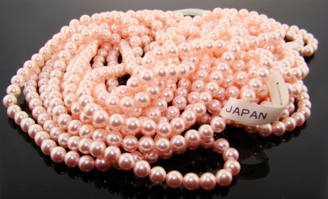 PINK 6MM ROUND SMOOTH JAPANESE PEARLS - Lot 133
