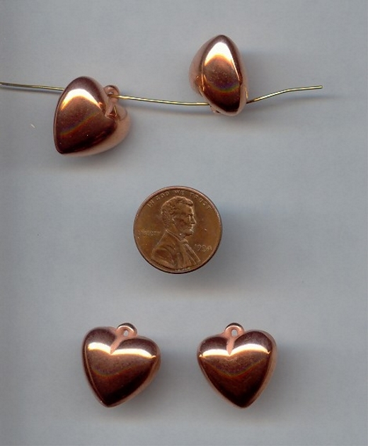 18MM COPPER COATED PUFFED HEART PENDANTS - Lot of 12