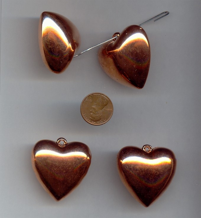 36MM COPPER COATED PUFFED HEART PENDANTS - Lot of 12