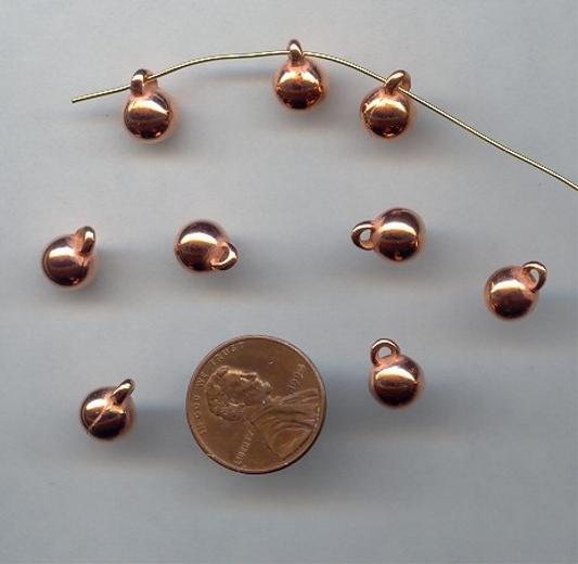8MM COPPER COATED 1-LOOP ROUND PENDANTS - Lot of 12