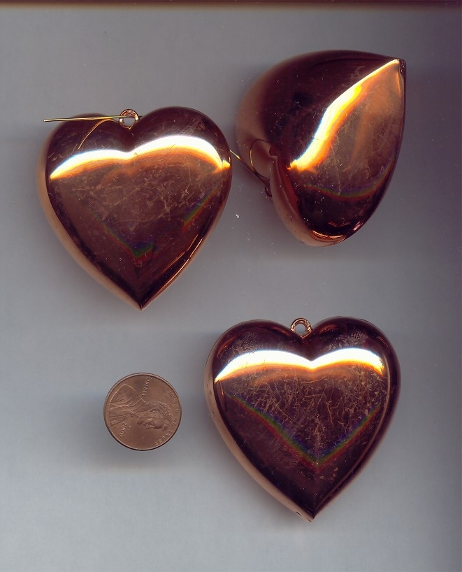 50MM COPPER COATED PUFFED HEART PENDANTS - Lot of 12