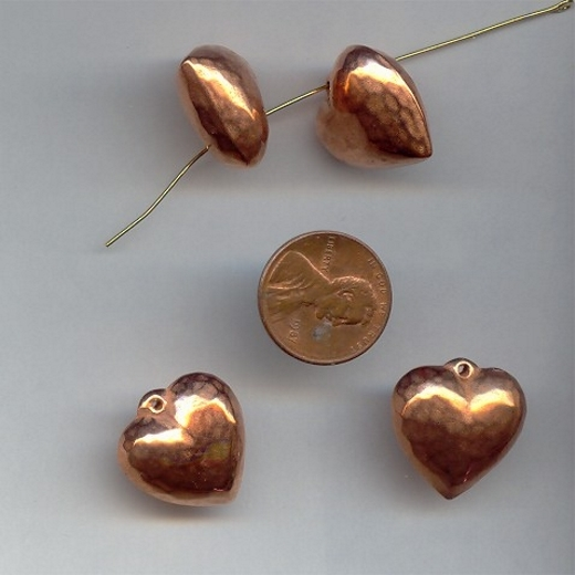 20MM COPPER COATED PUFFED HEART PENDANTS - Lot of 12
