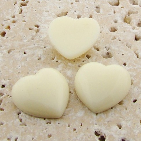 Ivory Opaque Smooth - 18mm. Heart Domed Cabochons - Lots of 144