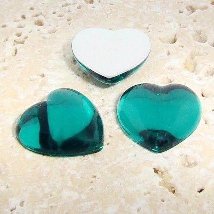 Teal Jewel Smooth - 18mm. Heart Domed Cabochons - Lots of 144