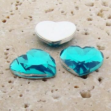 Aqua Jewel Faceted - 18mm. Heart Domed Cabochons - Lots of 144