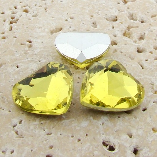 Jonquil Jewel - 18mm. Heart Faceted Gem Jewels - Lots of 144