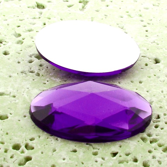Violet Jewel Multi Faceted - 40x30mm Oval Cabochons - Lots of 12