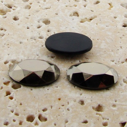 Hematite Faceted - 14x10mm. Oval Domed Cabochons - Lots of 144