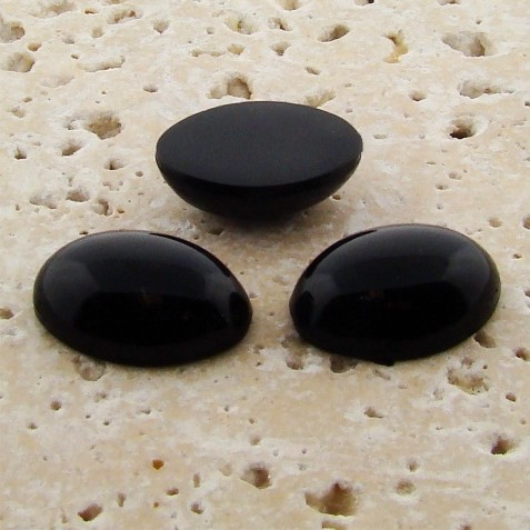 Jet Opaque - 25x18mm. Oval Domed Cabochons - Lots of 72