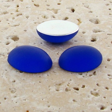 Sapphire Matte Frosted - 14x10mm. Oval Cabochons - Lots of 144
