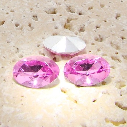 Rose Jewel - 25x18mm. Oval Faceted Gem Jewels - Lots of 72